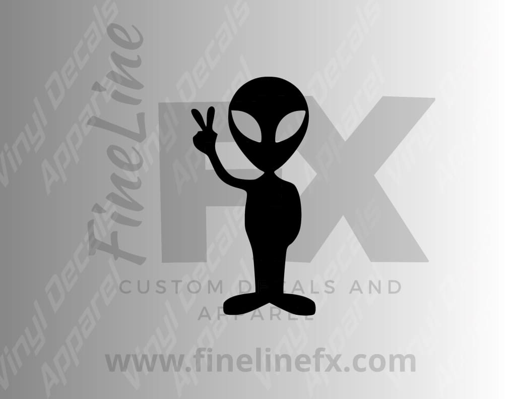 Alien Holding Up A Peace Sign Vinyl Decal Sticker