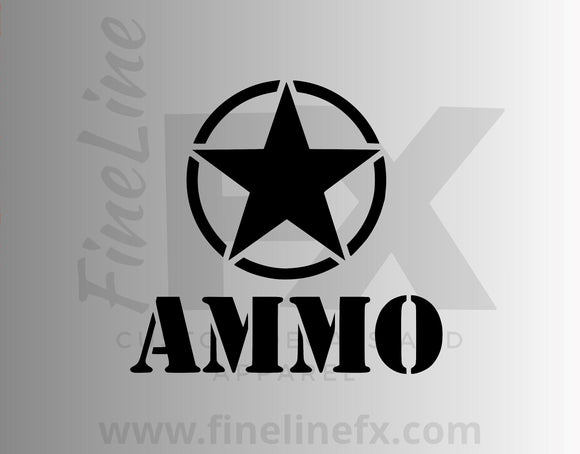 Ammo Box Military Star Vinyl Decal Sticker - FineLineFX