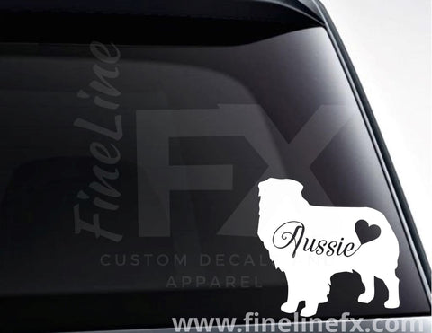 Australian Shepherd Dog With A Heart Vinyl Decal Sticker