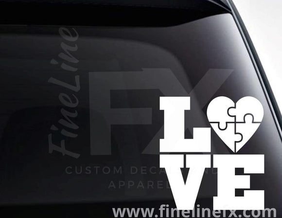Autism Puzzle Piece Love Vinyl Decal Sticker - FineLineFX