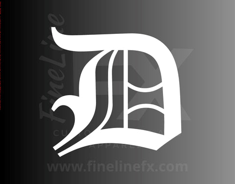 Old English Letter D Vinyl Decal Sticker