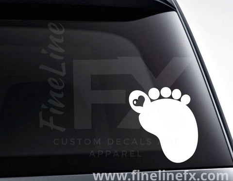 Baby Footprint With A Heart Vinyl Decal Sticker