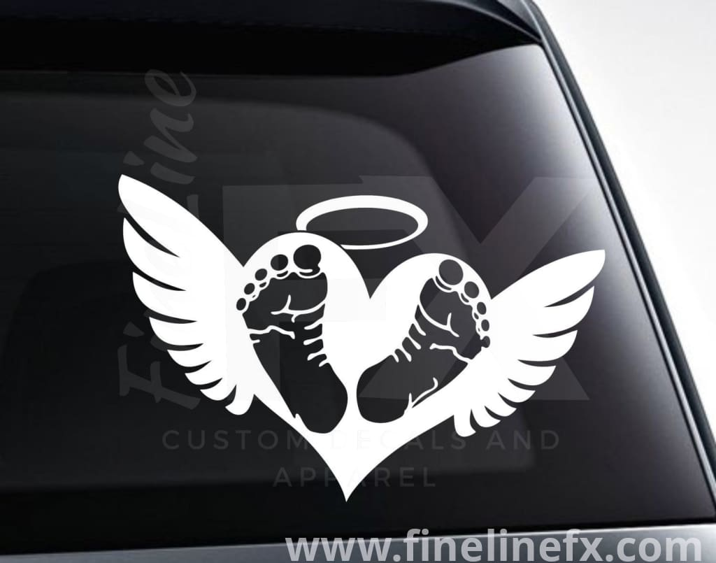 Baby Footprints On Heart With Angel Wings Memorial Vinyl Decal Sticker