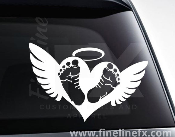 Baby Footprints On Heart With Angel Wings Memorial Vinyl Decal Sticker - FineLineFX