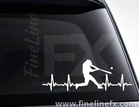 Baseball Player EKG Heartbeat Vinyl Decal Sticker