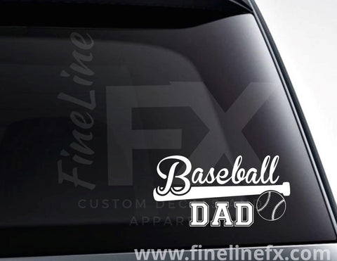 Baseball Dad Baseball Bat And Ball Vinyl Decal Sticker