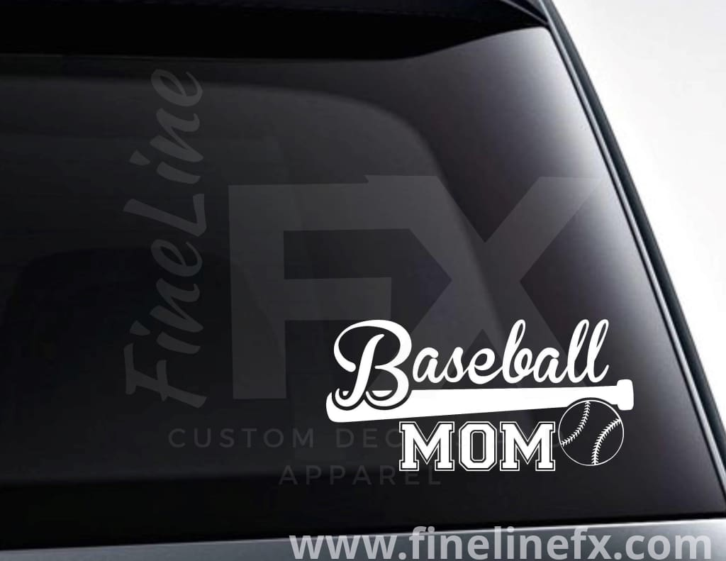 Baseball Mom Baseball Bat And Ball Vinyl Decal Sticker