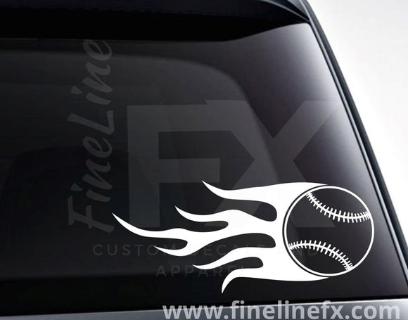 Baseball With Flames Vinyl Decal Sticker - FineLineFX