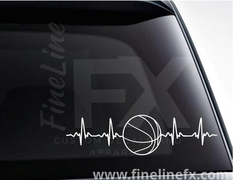 Basketball EKG Heartbeat Vinyl Decal Sticker