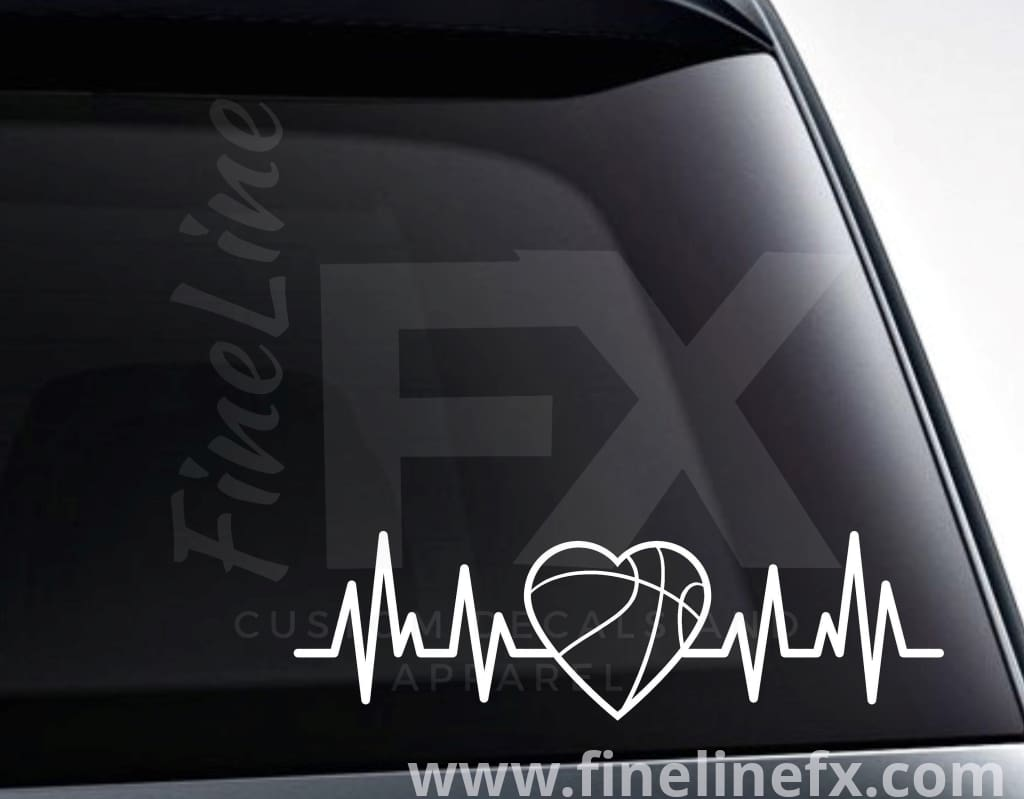 Basketball Heart EKG Heartbeat Vinyl Decal Sticker