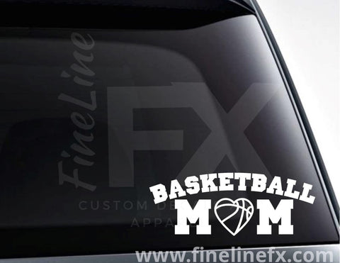 Basketball Mom Basketball Heart Vinyl Decal Sticker