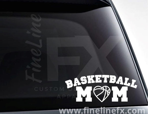 Basketball Mom Basketball Heart Vinyl Decal Sticker - FineLineFX