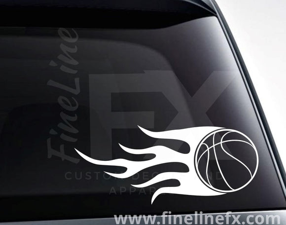 Basketball With Flames Vinyl Decal Sticker - FineLineFX