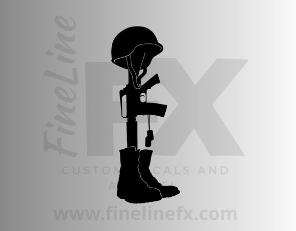 Battlefield Fallen Soldier Memorial Cross Vinyl Decal Sticker - FineLineFX