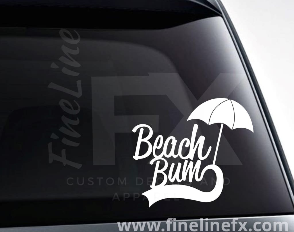 Beach Bum Beach Umbrella Vinyl Decal Sticker