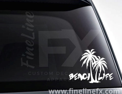Beach Life And Palm Trees Vinyl Decal Sticker