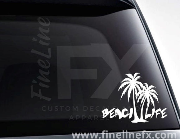 Beach Life And Palm Trees Vinyl Decal Sticker - FineLineFX