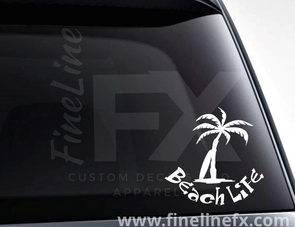 Beach Life Palm Tree And Surf Board Vinyl Decal Sticker - FineLineFX