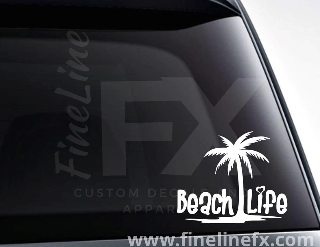Beach Life Palm Tree Vinyl Decal Sticker