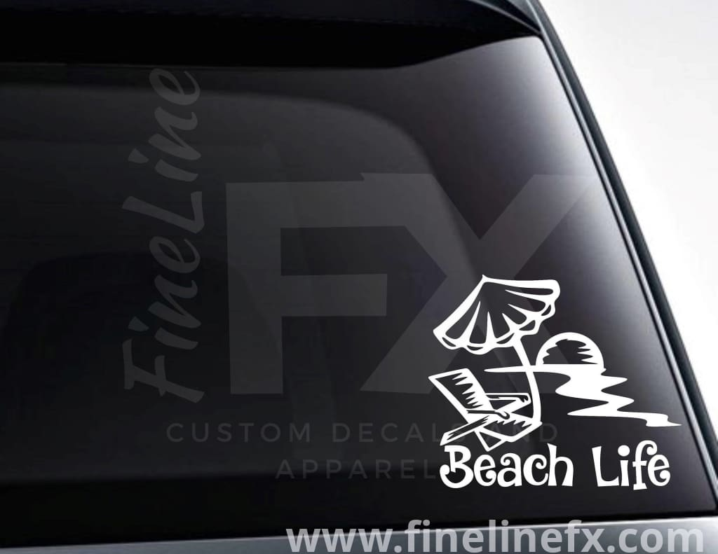 Beach Life Beach Chair And Umbrella Vinyl Decal Sticker