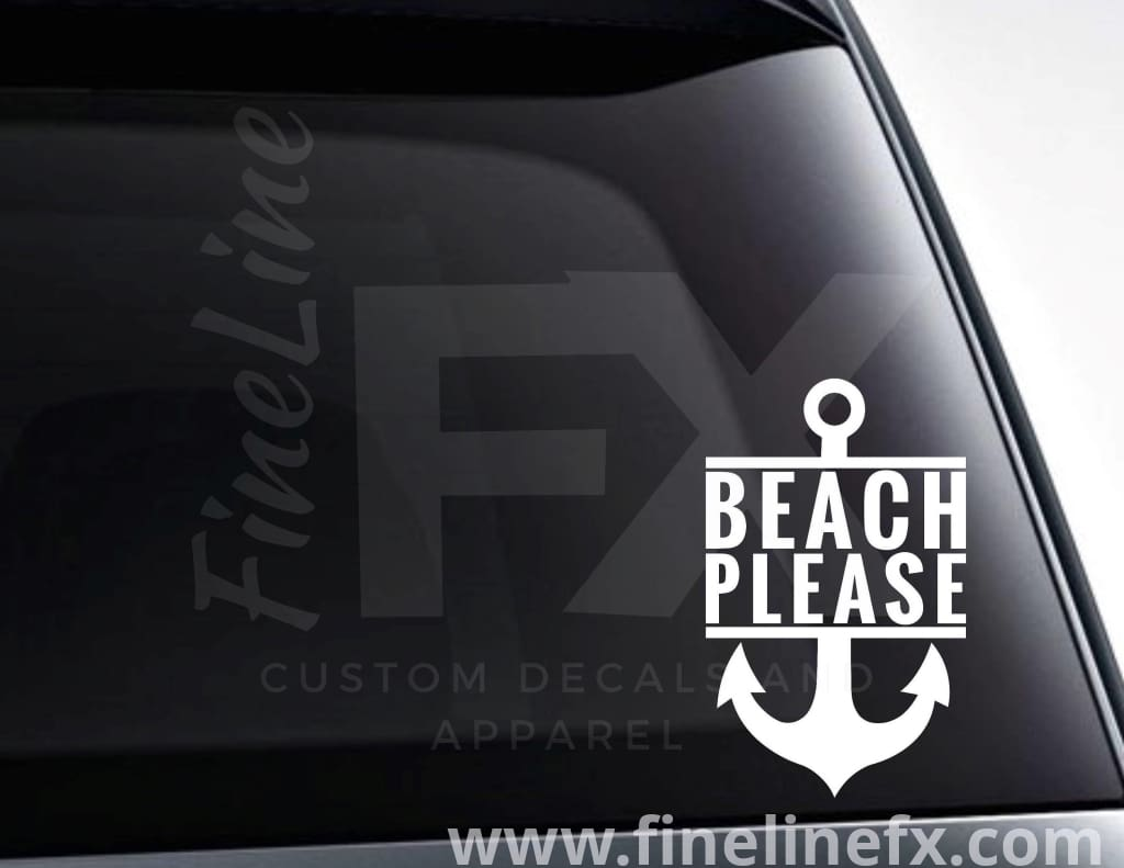 Beach Please Anchor Nautical Vinyl Decal Sticker