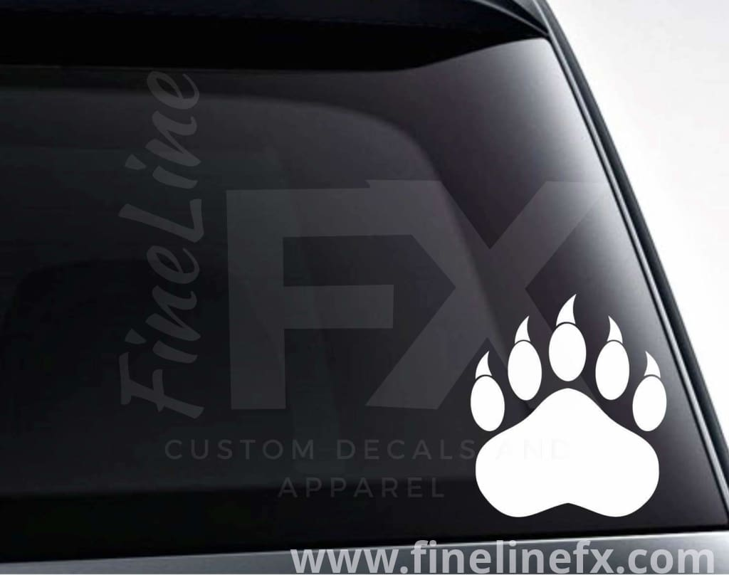 Bear Paw Print Vinyl Decal Sticker