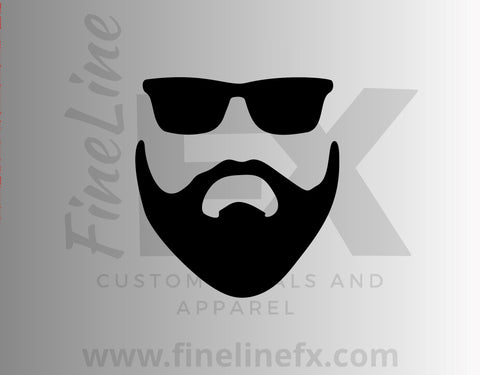 Bearded Man With Sunglasses Vinyl Decal Sticker