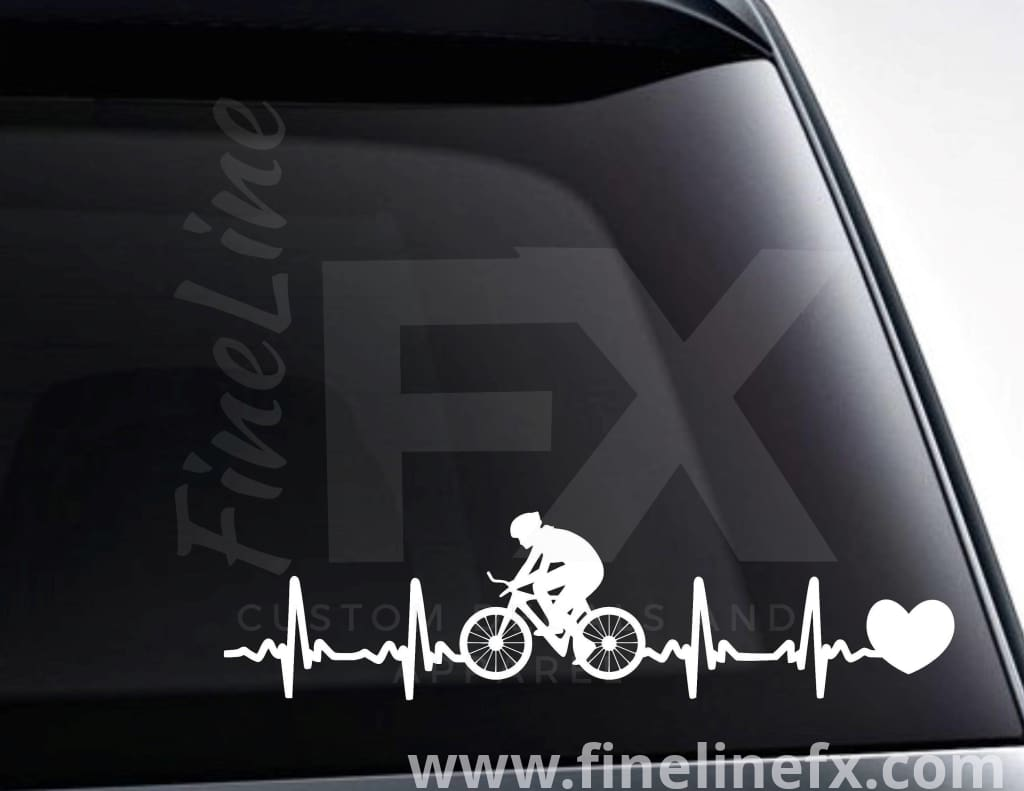 Cycling Bicycling EKG Heartbeat Vinyl Decal Sticker