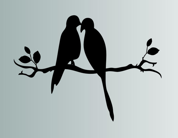 Love Birds On A Branch Die Cut Vinyl Wall Decal - FineLineFX