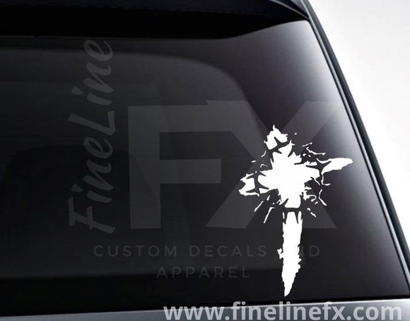 Blood Cross With Thorn Crown Vinyl Decal Sticker - FineLineFX