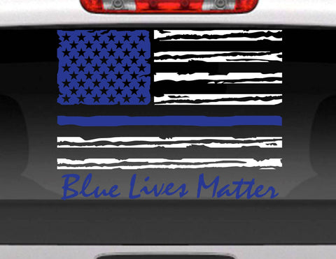 Blue Lives Matter American Flag Vinyl Decal Sticker
