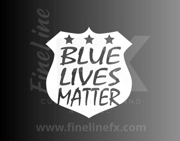 Blue Lives Matter Police Badge Vinyl Decal Sticker - FineLineFX