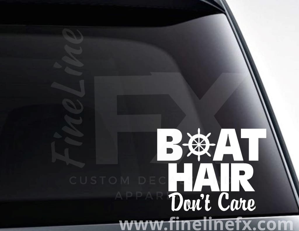Boat Hair Don't Care Ship Wheel Vinyl Decal Sticker