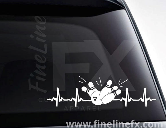 Bowling EKG Heartbeat Vinyl Decal Sticker - FineLineFX