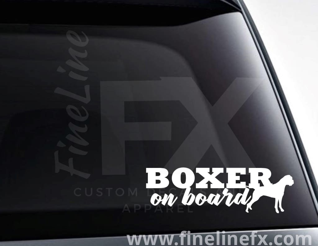 Boxer Dog On Board Vinyl Car Decal Sticker