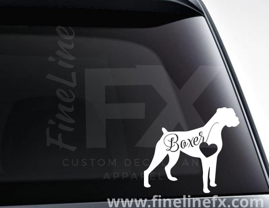 Boxer Dog With Heart Vinyl Decal Sticker
