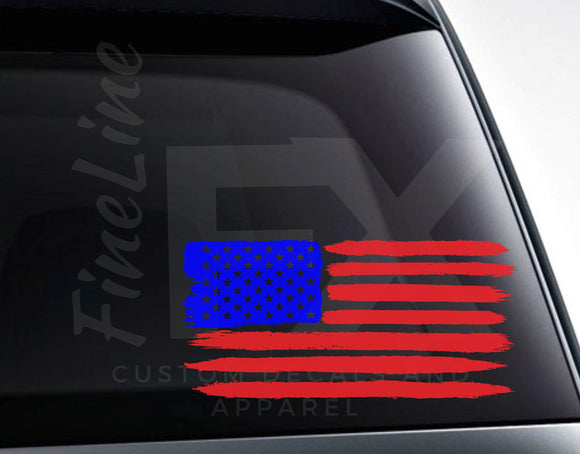 USA Brushed American Flag Vinyl Decal Sticker - FineLineFX