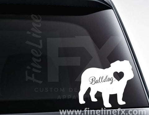 Bulldog With Heart Vinyl Decal Sticker