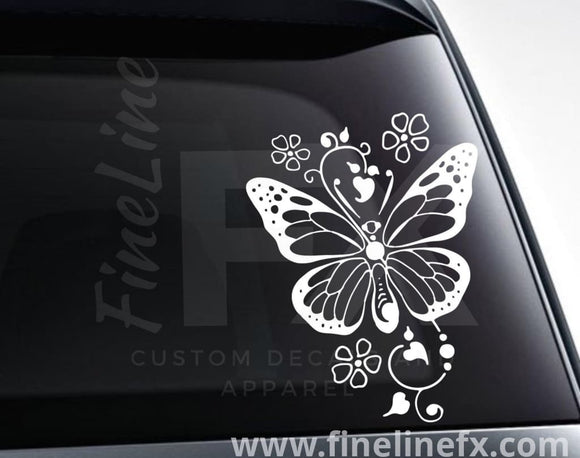 Butterfly with hearts and flowers vinyl decal / Sticker - FineLineFX