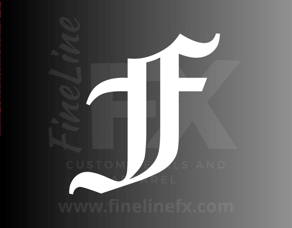 Old English Letter F Vinyl Decal Sticker