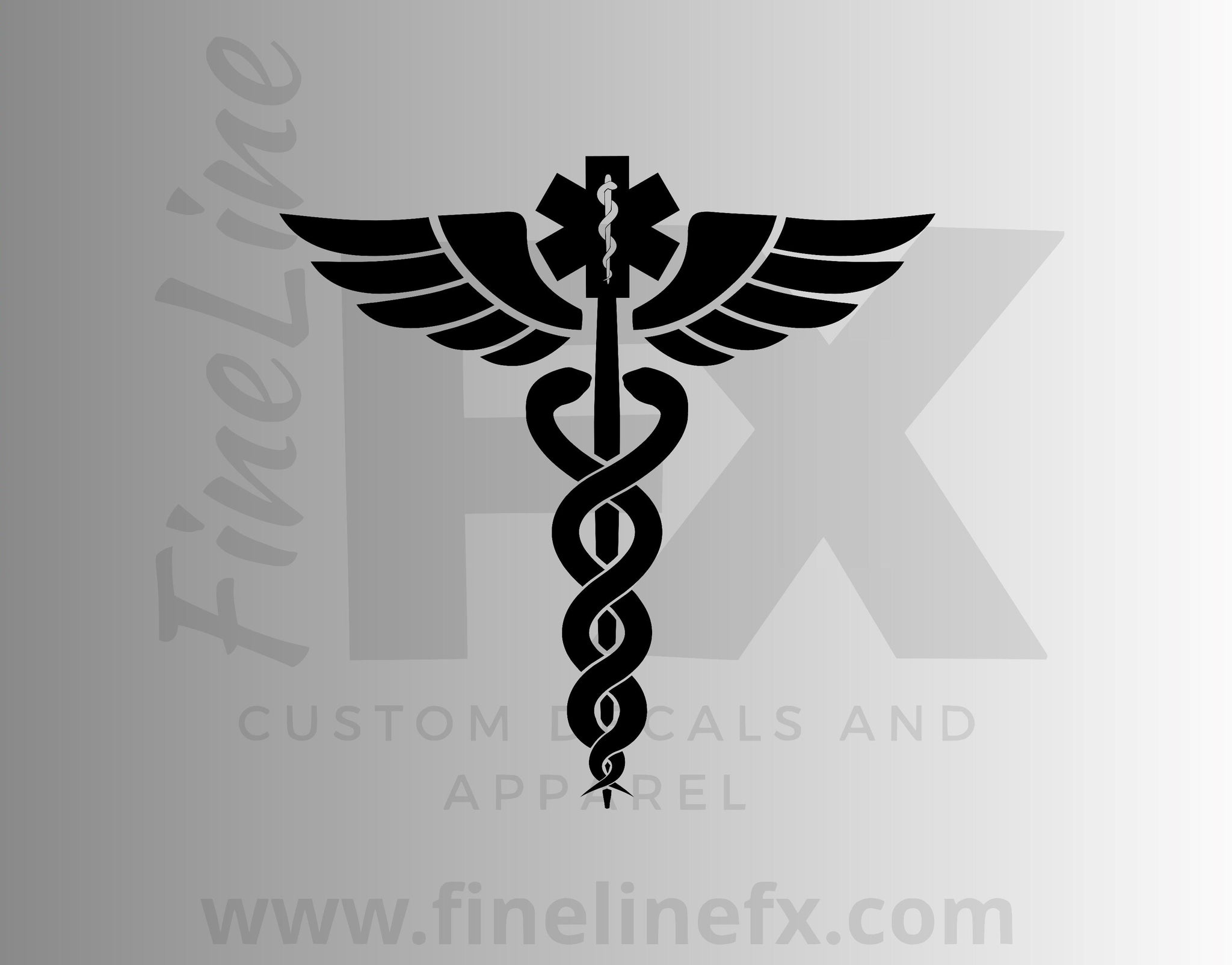 Caduceus EMS Medical Winged Staff Vinyl Decal Sticker