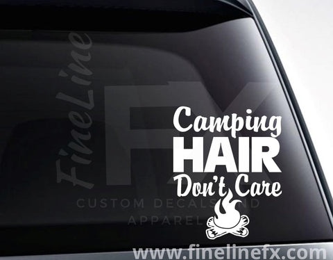 Camping Hair Don't Care Campfire Vinyl Decal Sticker