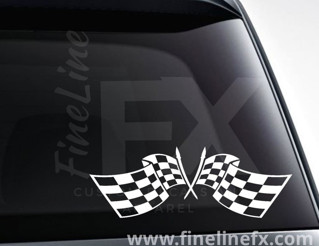 Checkered Racing Flags Vinyl Decal Sticker