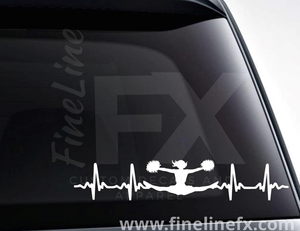 Cheerleader EKG Heartbeat Vinyl Decal Sticker