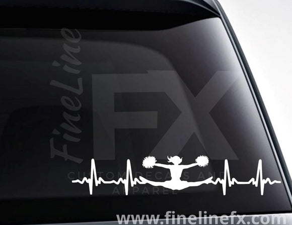 Cheerleader EKG Heartbeat Vinyl Decal Sticker - FineLineFX
