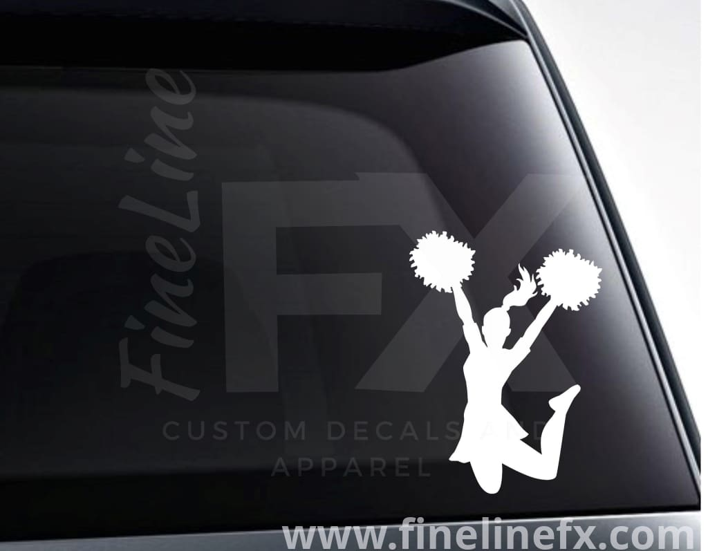 Cheerleader With Pom Poms Vinyl Decal Sticker