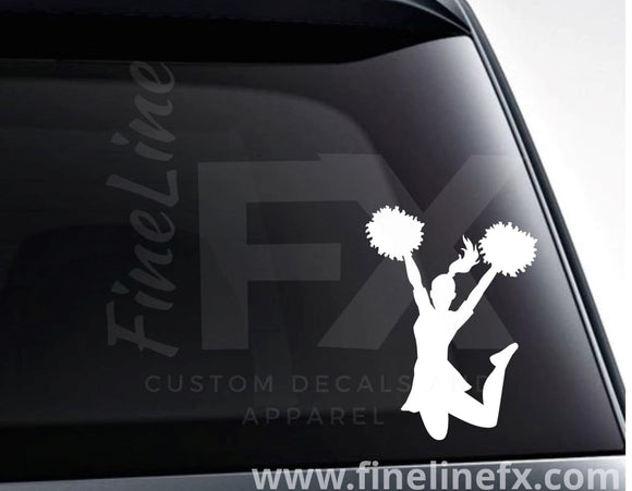 Cheerleader With Pom Poms Vinyl Decal Sticker - FineLineFX