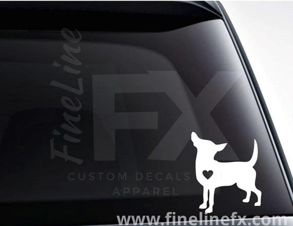 Chihuahua dog with a heart vinyl decal / Sticker - FineLineFX
