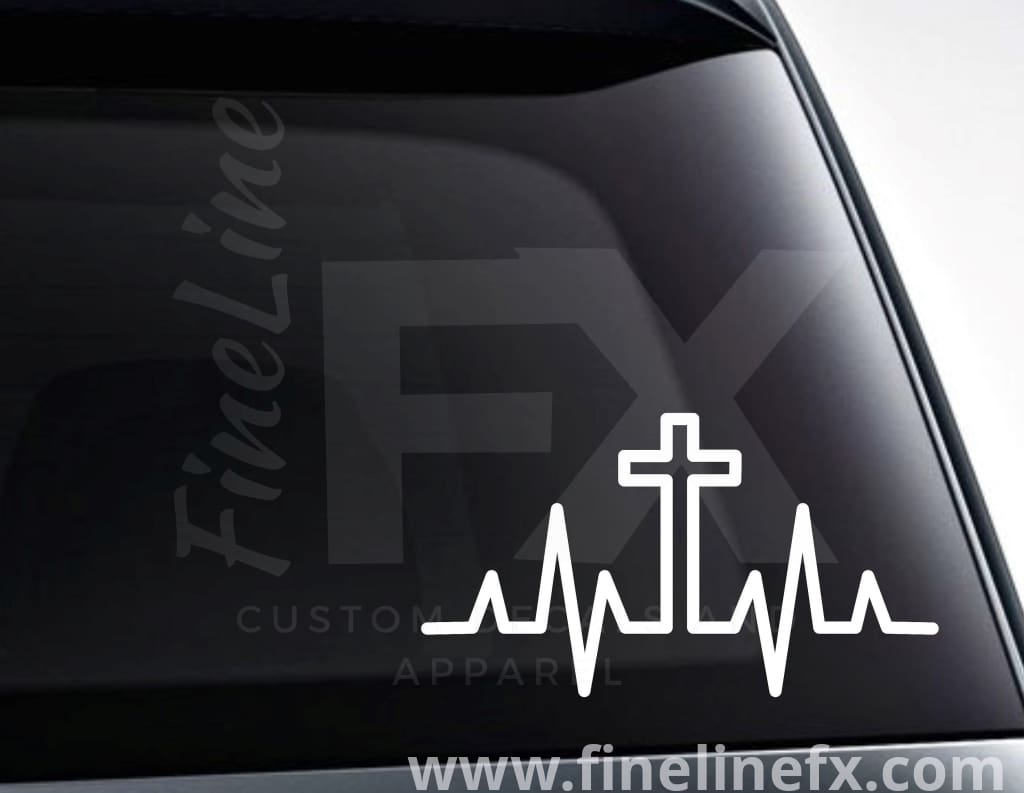 Christian Cross Heartbeat Vinyl Decal Sticker