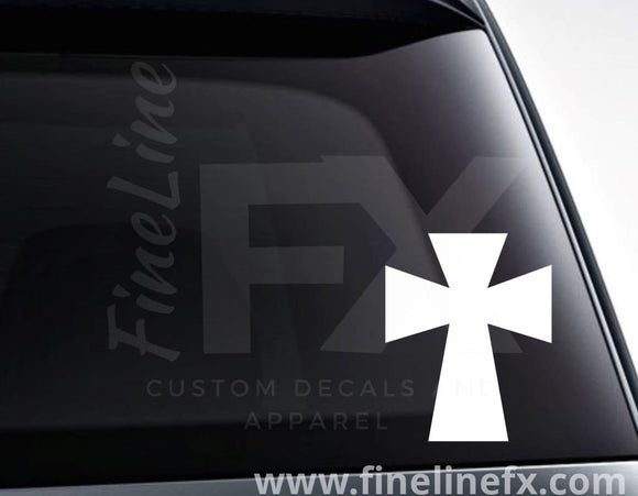 Christian Religion Styled Cross Vinyl Decal Sticker - FineLineFX